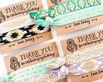 Dreamcatcher Boho Birthday Party Hair Tie Favors | Tribal Boho Arrow Hair Tie Favors, Bohemian Birthday Party Favors, Teen Girl Birthday