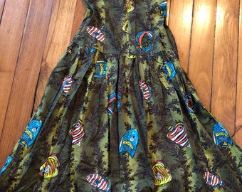 1950s dress sea print with pisces and seaweed / extra small - small