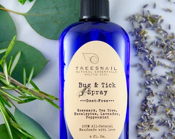 All-Natural Bug and Tick Spray | Deet Free | Gardening | Hiking | Gifts Under 10 | Natural Gifts | Essential Oil Bug Spray | Treesnail