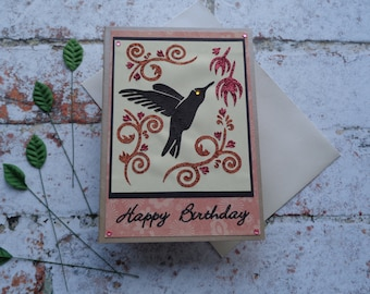 Hummingbird Birthday card, Handmade Greeting card