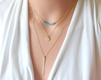 Gold turquoise necklace Layering necklace Gemstone Bar Necklace Simple gemstone necklace Dainty Minimalist jewelry, Gold layering necklace,