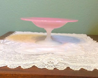 Antique Alabaster Rosaline COMPOTE Bowl Glass Comport Stevens Williams Serving Pink