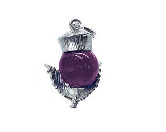Sterling Silver & Amethyst Scottish Thistle Charm For Bracelets