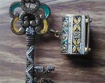 vintage key and treasure chest pin