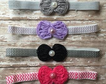 Chiffon Bow-Chevron print Infant/Children's Headband: Chiffon bow with middle pearl on a chevron print elastic headband Newborn, Baby, Girls