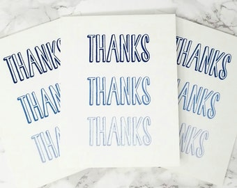 Set of 3 Thank You Cards / Blue Ombre / THANKS Notecards / Handmade Greeting Cards / Blank Inside / Minimalist