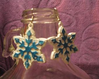 WHITE and BLUE SNOWFLAKE Earrings