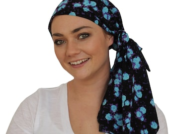 Jessica Head Scarf, Women's Cancer Headwear, Chemo Scarf, Alopecia Hat, Head Wrap, Head Cover for Hair Loss - Electric Blue Flowers