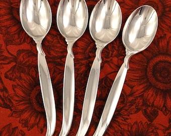 Set 4 Teaspoons 1847 Rogers FLAIR Mid Century Modern Vintage 1956 Silverplate Flatware Tea Spoons