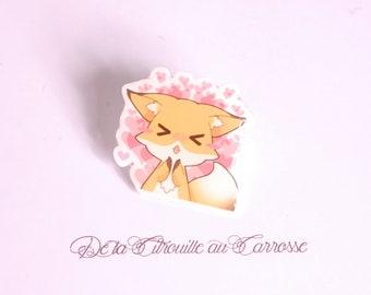 Kawaii style fox pin badge, little hearts