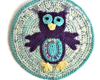 "Owl Pot Holder, Cotton Crochet Purple Owl Hotpad, 10"" Round Owl Potholder, Thick Table Centerpiece Colorful Trivet"