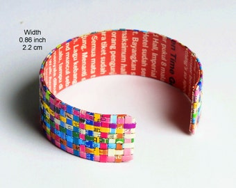 Woven paper bracelet, FREE SHIPPING, Anniversary Gift for Her Open Bangle Upcycled recycled woven recycled bracelet Eco friendly jewelry