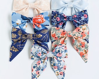 Hair Bow, Sailor Bow, Bow Headband, Headband, Fabric Hair Bow, Hair Clip, Baby Bow, Nylon Headband, Alligator Clip - Les Fleur Collection