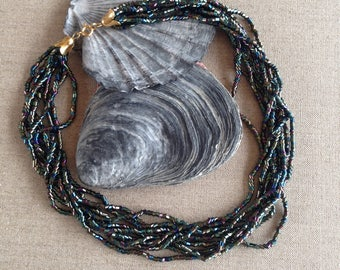 Vintage metallic glass bead multi-strand necklace