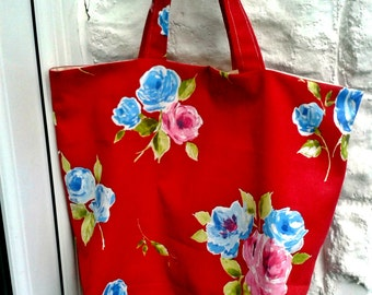 Shopping Bag, Red Floral Shopping Bag, Red Cotton Fabric, Market Bag, Grocery Bag, Eco Shopper Bag, Red Floral Bag