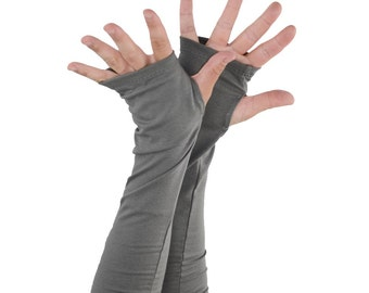 Arm Warmers in Stone Grey - Fingerless Gloves - Sleeves