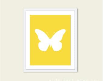 Butterfly Art Print - Butterfly Wall Art - Modern Butterfly Art - Baby Nursery Wall Art - Yellow and White Butterfly Art - Custom Color