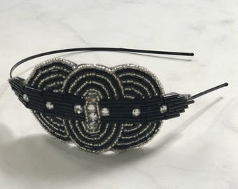 Black & White Art Deco Beaded and Sequined Crystal Headband // Handmade 1920's Style Accent Headpiece with Oval and Round Shapes