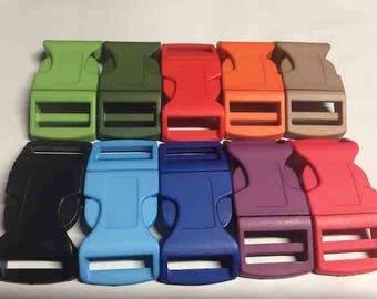 "Side release buckle set of 5, buckle fits 1"" webbing, fits 25mm webbing, plastic, buckle strap hardware, luggage supplies, belt hardware"