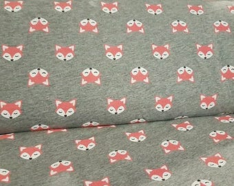 Foxes on grey cotton jersey knit fabric, rompers, leggings, tops, handmade clothing, sewing, accessories, gift for him, birthday skirt