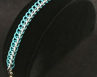 Teal Blue and Silver Two-Toned Half Persian 3 in 1 Bracelet Chainmaille, Chain maille, Chain mail, Chainmail, Spring, Summer