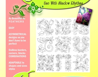 Machine Quilting Pattern Pack Download, Free Motion Leaf Designs for Beginners, Printable 36 Patterns, Machine and Hand Quilting Patterns,