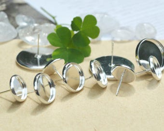 100 Post Round Earrings- Shiny Silver Plate 6mm/8mm/ 10mm/ 12mm/ 14mm/ Round Bezel Ear Studs W/ Matching Rubber Ear Nuts Wholesale