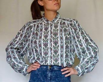 VINTAGE 90 printed shirt//pleated//Camisa estampada// S size