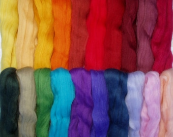 255g (68.63 Euro/kg) 9oz, 20 colours merino wool roving, felting wool, spinning fiber, needle felting wool, doll hair, no. 80, 100% wool