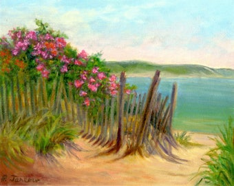 Beach Art, Beach Roses Art, Beach Roses Print, Cape Cod Landscape, Cape Cod Beach Art, Oil Landscape, Home Decor Wall Art by P. Tarlow