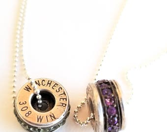 Sterling Silver 308 Winchester Bullet Necklace, Amethyst Choker Necklace, Bullet Jewelry, Women with Guns