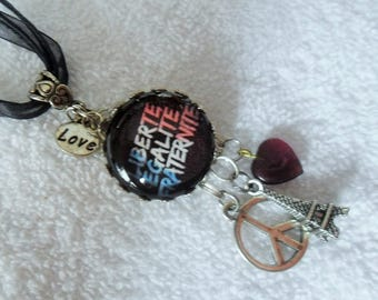 Freedom equality brotherhood glass Cabochon necklace - Eiffel Tower peace heart charms