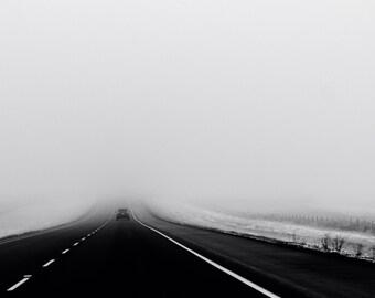 Road trip photo, fog photograph, highway dramatic, landscape photo, black white landscape, travel winter alberta transcanada, art home decor