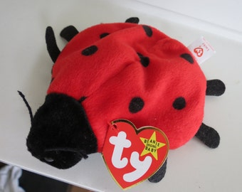 RARE Ty Beanie Baby - LUCKY Ladybug, Tag Date ERROR, 8 Spots, 4th Generation Swing Tag, No Stamp on Tush Tag, pvc Pellets, Mint Condition