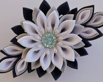 Kanzashi fabric flower hair clip. Grey and blue and white.