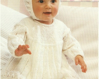 Beautiful Baby/Childs Dress,Bonnet and Bootees Knitting Pattern 6 months to 2 years.
