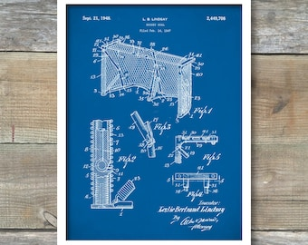 Hockey Goal Patent Poster, Patent Print, Vintage Hockey Goal, Hockey Fan Art, Spots Decor, Hockey Decor, P375