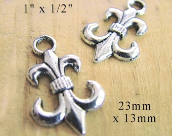CLEARANCE - Silver pewter finish fleur de lis charms - 23x13mm earring drops or charms - set of three pairs (6 charms)