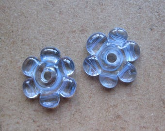 Lampwork Beads - SueBeads - Disc Beads - Disc Flowers - Light Blue Cut Disc Flower Bead Pair - Handmade Lampwork Beads - SRA M67