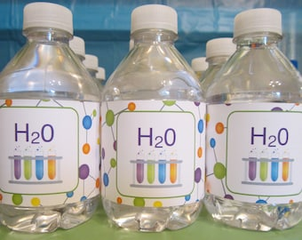Science Water Bottle Labels h20 test tubes molecules printable birthday party