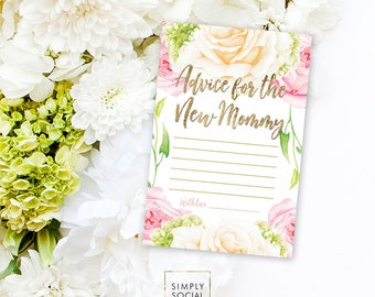 INSTANT DOWNLOAD BABY Shower Advice Card - Pink Flower Rose Hydrangea Baby Shower Printable Advice for the New Mommy Mom to be