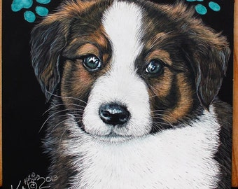 Pet portrait custom English Shepherd Puppy scratchart print -Jorja