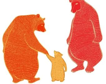 LARGE limited edition print - Magic Jewel Bears - Wall art