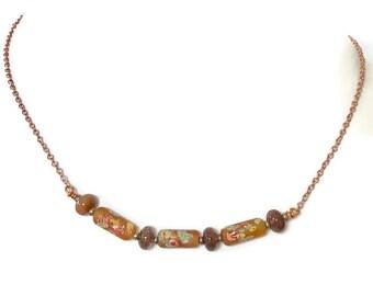 Vintage Millefiori bead necklace . Japanese beads. Rultilated quartz.