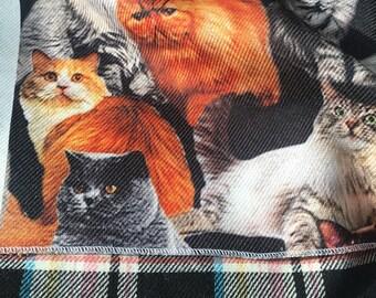 Designer Double sideCoat FabricCats/Windowpane Wool, Cotton, Polyester