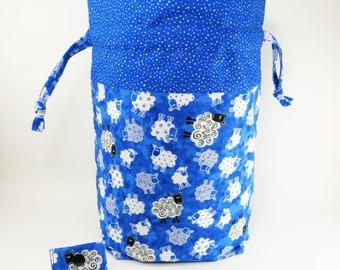 """Knitting Project Bag - New!  """"Baa Baa Blue Sheep"""" Large Drawstring Project Bag (V)"""