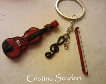 Polymer Clay Violin Keychain