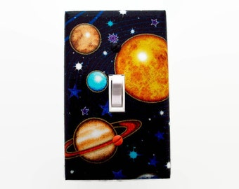 Planets Light Switch Cover - Outer Space Switch Plate - Space Bedroom - Boys Planet Decor