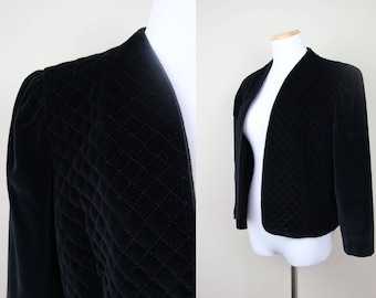 Quilted Black Velvet Blazer + MEDIUM + Vintage 80s 90s Lord and Taylor Velvet Jacket + Open Front Jacket + Minimalist Black + Medieval +