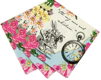 Alice in Wonderland Party Napkins -Small | Alice Party Paper Napkins Mad Hatter Tea Party Bridal Tea Alice Baby Shower Alice Wedding Shower